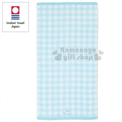 〔小禮堂〕大耳狗 日製棉質大浴巾《藍白.格紋》60x120cm.今治毛巾
