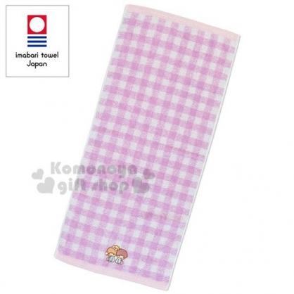 〔小禮堂〕雙子星 日製棉質長毛巾《紫白.格紋.對坐》34x76cm.長巾.今治毛巾