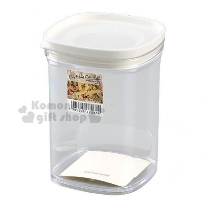 〔小禮堂〕日本INOMATA 日製方形透明塑膠密封罐《白蓋》520ml.保鮮罐.餅乾罐.咖啡罐