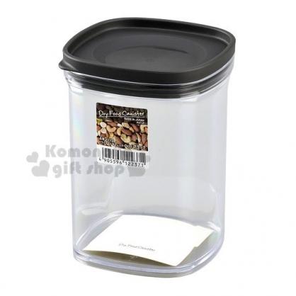 〔小禮堂〕日本INOMATA 日製方形透明塑膠密封罐《黑蓋》520ml.保鮮罐.餅乾罐.咖啡罐