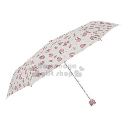 〔小禮堂〕Hello Kitty 頭型柄折疊雨陽傘《黃粉.蘋果》折傘.雨傘.雨具