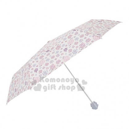 〔小禮堂〕布丁狗 頭型柄折疊雨陽傘《黃粉.花朵》折傘.雨傘.雨具