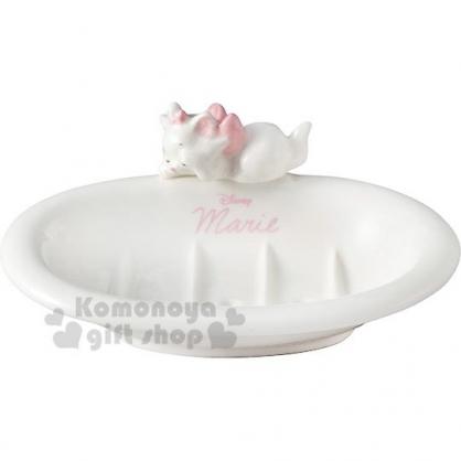 〔小禮堂〕迪士尼 瑪莉貓 造型陶瓷肥皂盤《白.睡覺》肥皂架.置物盤.飾品盤