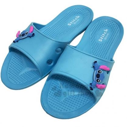 〔小禮堂〕迪士尼 史迪奇 極輕防滑塑膠拖鞋《藍.大臉》室內拖鞋.浴室拖鞋