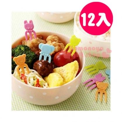 〔小禮堂〕動物 日製造型食物叉《12入.4色.大臉》4角色各3支
