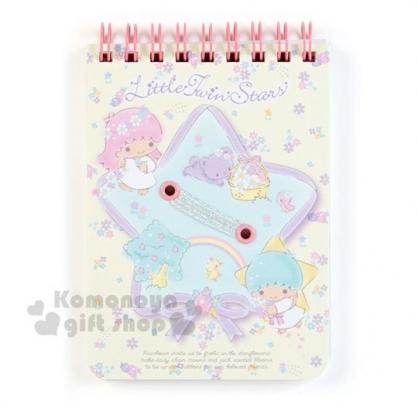 〔小禮堂〕雙子星 日製上翻線圈方格筆記本《B7.米藍.緞帶》記事本.手札