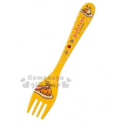 〔小禮堂〕蛋黃哥 美耐皿叉子《黃.趴姿》塑膠叉.環保餐具.兒童餐具