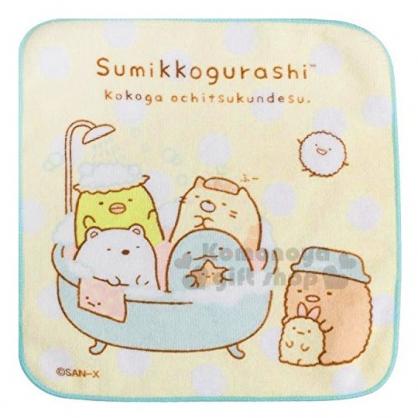 〔小禮堂〕角落生物 棉質圓角小方巾《綠黃.洗澡》21x21cm.毛巾.手帕
