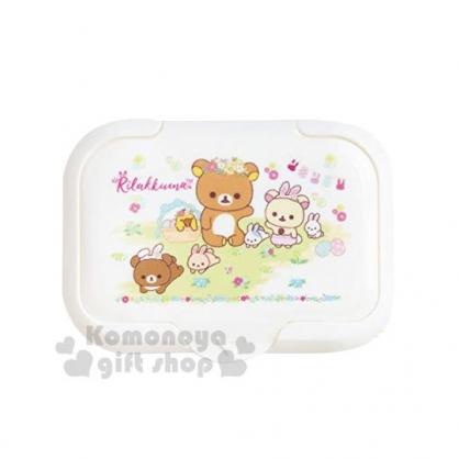 〔小禮堂〕懶懶熊 拉拉熊 塑膠方形濕紙巾蓋黃《白綠.花園》濕巾盒蓋.密封蓋