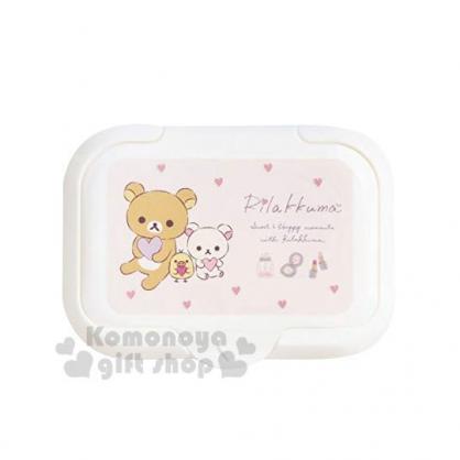 〔小禮堂〕懶懶熊 拉拉熊 塑膠方形濕紙巾蓋黃《粉白.抱愛心》濕巾盒蓋.密封蓋