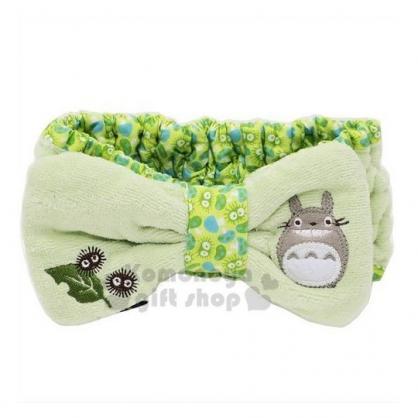 〔小禮堂〕宮崎駿Totoro龍貓 蝴蝶結造型絨毛鬆緊束髮帶《綠》髮箍.髮飾.頭飾