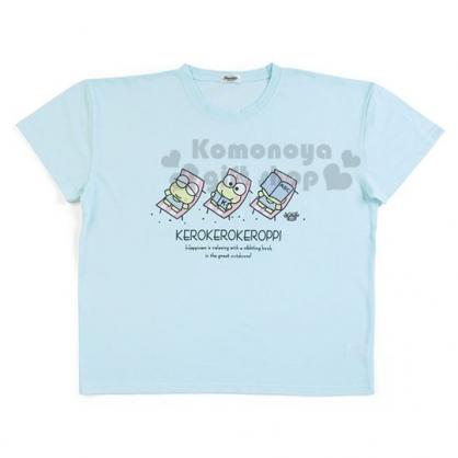 〔小禮堂〕大眼蛙 棉質休閒圓領短袖上衣《藍綠.躺椅》T恤.短T.T-shirt