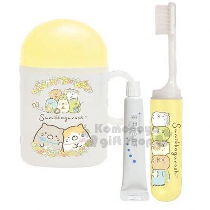 〔小禮堂〕角落生物 日製杯裝旅行牙刷組《黃白.戴花圈》盥洗用品.口腔清潔