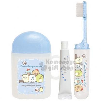 〔小禮堂〕角落生物 日製杯裝旅行牙刷組《淡藍.音樂課》盥洗用品.口腔清潔