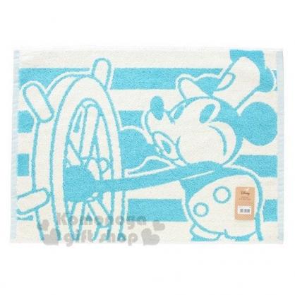 〔小禮堂〕迪士尼 米奇 毛巾腳踏墊《綠白.開船》45X60cm.浴墊.地墊