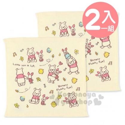 〔小禮堂〕迪士尼 小熊維尼 紗布方形毛巾組《2入.黃.愛心》34x35cm.方巾