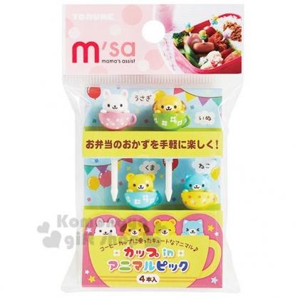 〔小禮堂〕日本TORUNE 造型塑膠裝飾叉組《4入.彩色杯子動物》甜點叉.水果叉