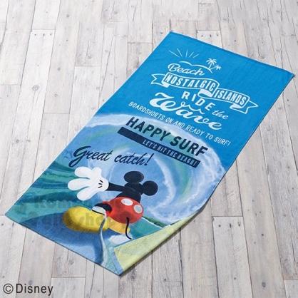 〔小禮堂〕迪士尼 米奇 棉質大浴巾《深藍.衝浪》70x140cm.丸真毛巾