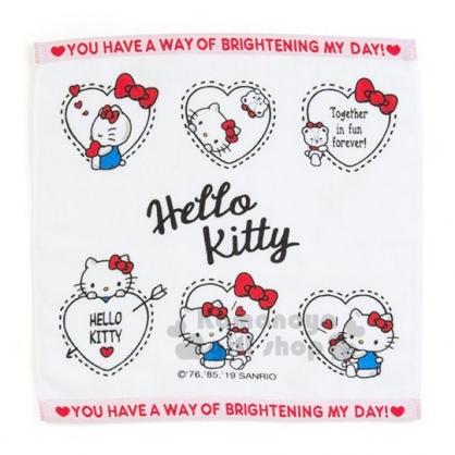 〔小禮堂〕Hello Kitty 純棉割絨方形毛巾《紅白.愛心框》34x35cm.方巾