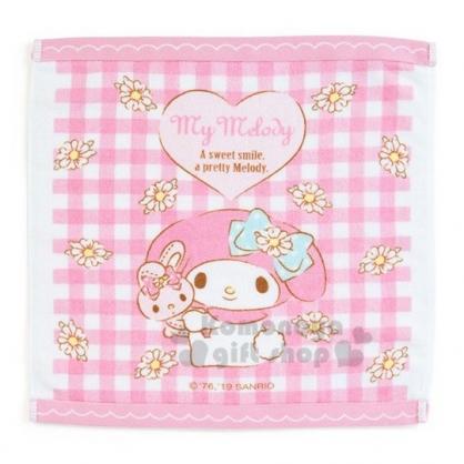 〔小禮堂〕美樂蒂 純棉割絨方形毛巾《粉白.格紋》34x35cm.方巾