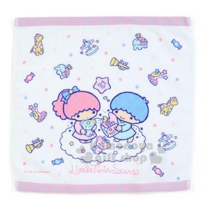 〔小禮堂〕雙子星 純棉割絨方形毛巾《紫白.坐雲上》34x35cm.方巾