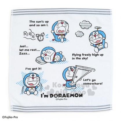 〔小禮堂〕哆啦A夢 純棉割絨方形毛巾《藍白.拿道具》34x35cm.方巾