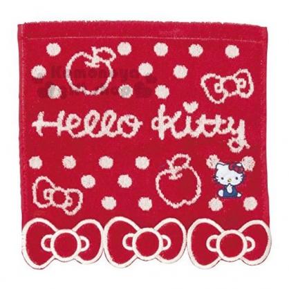 〔小禮堂〕Hello Kitty 純棉無捻紗小方巾《紅.蝴蝶結下擺》25x25cm.手帕.丸真毛巾