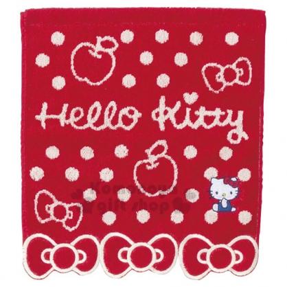 〔小禮堂〕Hello Kitty 純棉割絨方形毛巾《紅.蝴蝶結下擺》34x35cm.方巾.丸真毛巾