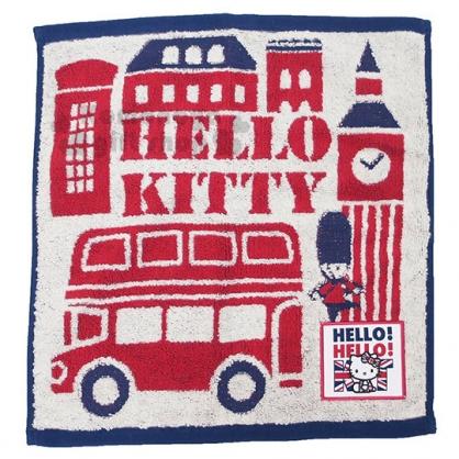 〔小禮堂〕Hello Kitty 純棉無捻紗小方巾《紅藍.英倫》25x25cm.手帕.丸真毛巾
