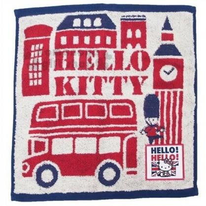 〔小禮堂〕Hello Kitty 純棉無捻紗方形毛巾《紅藍.英倫》34x35cm.方巾.丸真毛巾