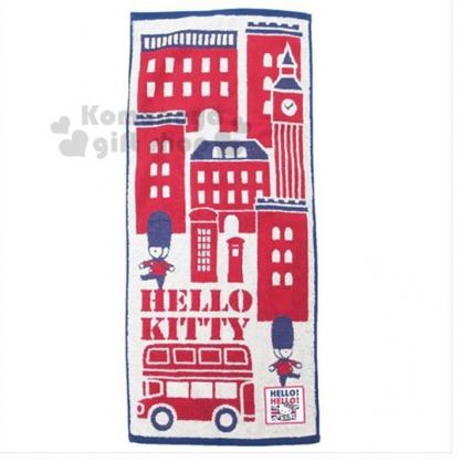 〔小禮堂〕Hello Kitty 純棉無捻紗長毛巾《紅藍.英倫》80x35cm.長巾.丸真毛巾