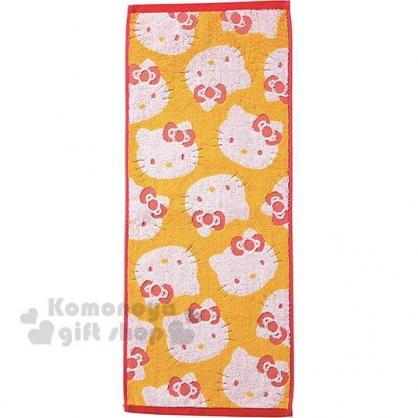 〔小禮堂〕Hello Kitty 純棉無捻紗長毛巾《紅黃.滿版大臉》80x35cm.長巾.丸真毛巾