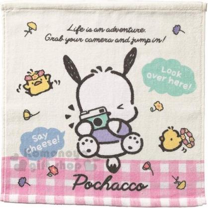 〔小禮堂〕帕恰狗 純棉割絨方形毛巾《粉米.相機》34x35cm.方巾.丸真毛巾