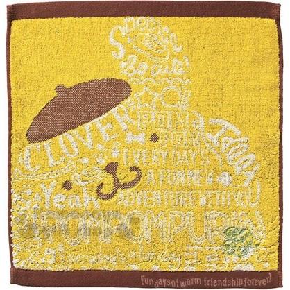 〔小禮堂〕布丁狗 純棉無捻紗方形毛巾《黃棕.英文字》34x35cm.方巾.丸真毛巾