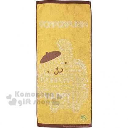 〔小禮堂〕布丁狗 純棉無捻紗長毛巾《黃棕.英文字》80x35cm.長巾.丸真毛巾
