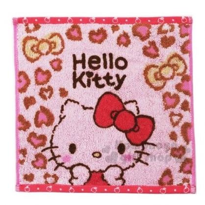 〔小禮堂〕Hello Kitty 純棉無捻紗小方巾《粉灰.豹紋》25x25cm.手帕.丸真毛巾