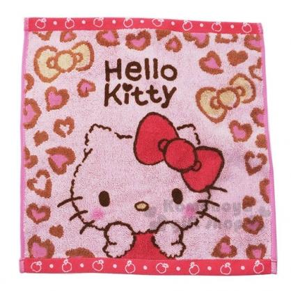 〔小禮堂〕Hello Kitty 純棉無捻紗方形毛巾《粉灰.豹紋》34x35cm.方巾.丸真毛巾