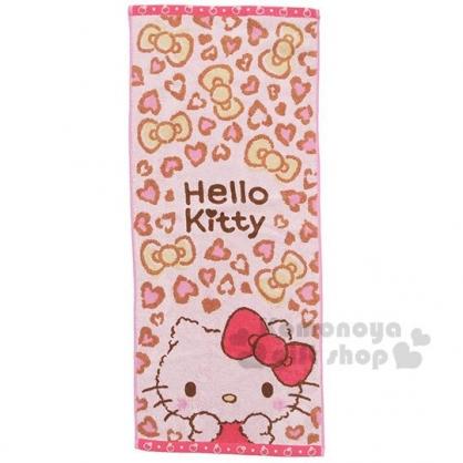 〔小禮堂〕Hello Kitty 純棉無捻紗長毛巾《粉灰.豹紋》80x35cm.長巾.丸真毛巾