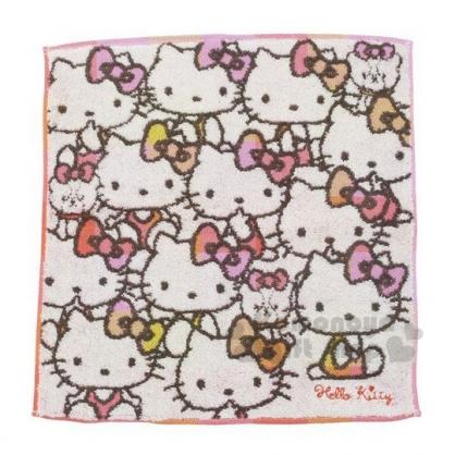 〔小禮堂〕Hello Kitty 純棉無捻紗方形毛巾《灰白.橘粉大臉》34x35cm.方巾.丸真毛巾