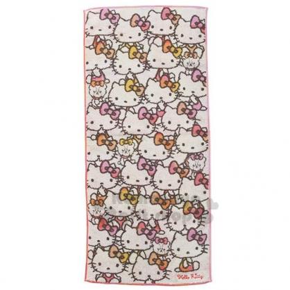 〔小禮堂〕Hello Kitty 純棉無捻紗長毛巾《灰白.橘粉大臉》80x35cm.長巾.丸真毛巾