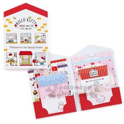 〔小禮堂〕Hello Kitty 日製房屋造型豪華信紙組《紅白》貼紙.便條紙.信封.卡片