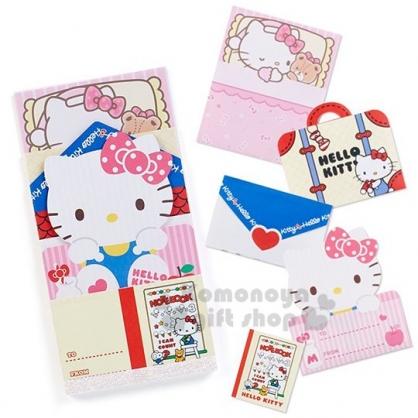〔小禮堂〕Hello Kitty 日製造型留言卡組《紅白.大臉》留言紙.便條紙.信紙