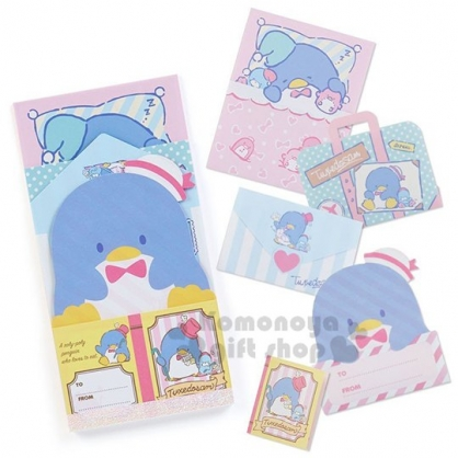 〔小禮堂〕山姆企鵝 日製造型留言卡組《藍黃.大臉》留言紙.便條紙.信紙