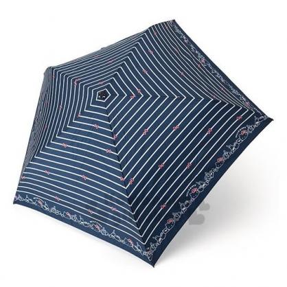 〔小禮堂〕Hello Kitty 超輕量折疊雨陽傘《深藍.條紋》雨傘.折傘.雨傘