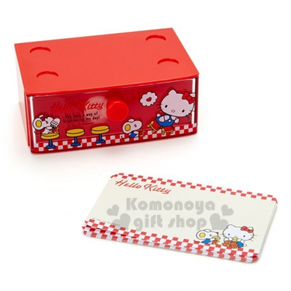 〔小禮堂〕Hello Kitty 迷你塑膠積木盒便條紙組《紅》透明抽屜盒.名片盒