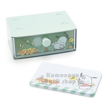 〔小禮堂〕帕恰狗 迷你塑膠積木盒便條紙組《藍綠》透明抽屜盒.名片盒