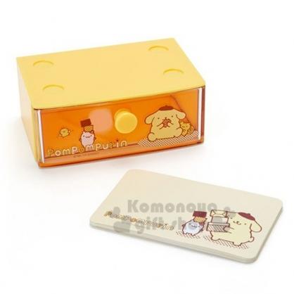 〔小禮堂〕布丁狗 迷你塑膠積木盒便條紙組《黃》透明抽屜盒.名片盒