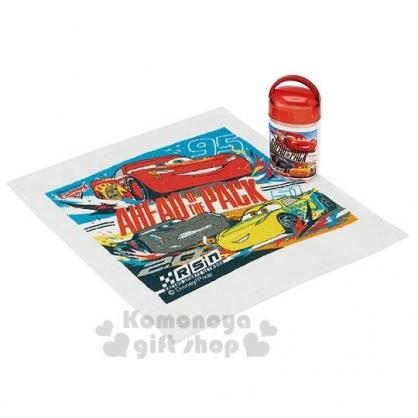 〔小禮堂〕迪士尼 閃電麥坤 日製方形毛巾附罐《紅黃.賽車》28x35cm.手帕.毛巾罐