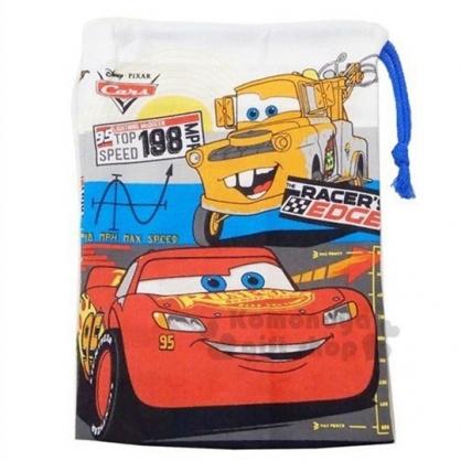 〔小禮堂〕迪士尼 閃電麥坤 日製棉質束口袋《藍紅.大臉》15x20cm.縮口袋.收納袋