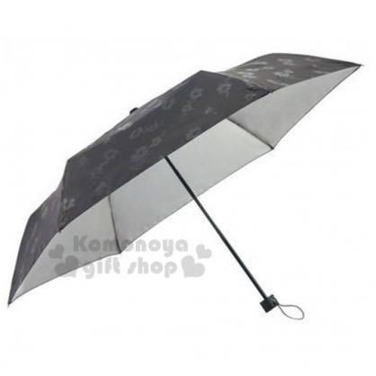 〔小禮堂〕折疊雨陽傘《黑.花朵滿版》雨傘.折傘.雨具.晴雨兩用.抗UV